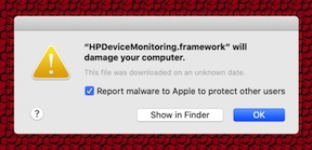 """macOS warns that HP, Amazon software """"will damage your computer"""""""